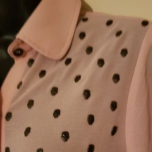 Pink champagne button up- skull details